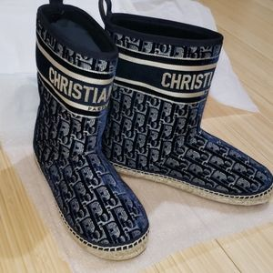 Dior Oblique Embroidered Velvet Granville Boot 10